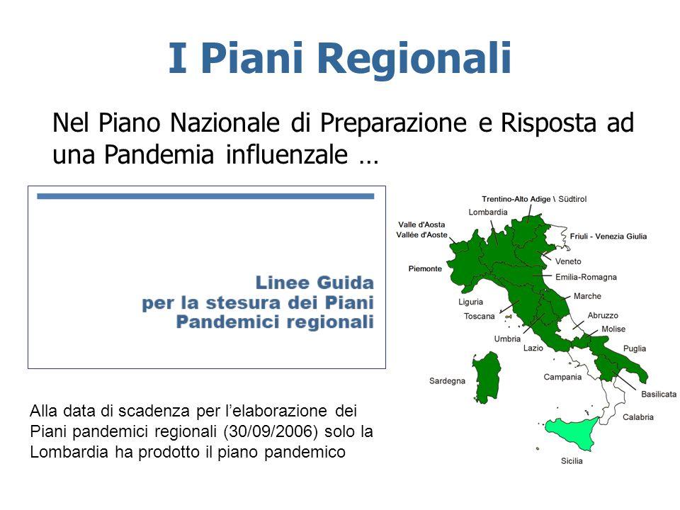 I Piani Regionali Nel Piano Nazionale di Preparazione e Risposta ad una Pandemia influenzale …