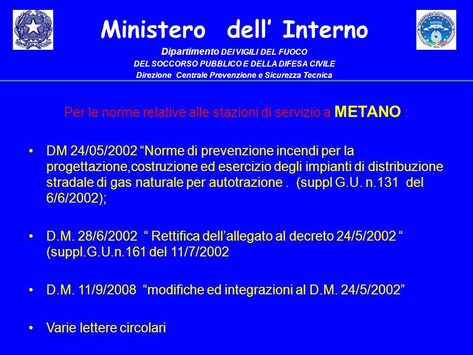 Per le norme relative alle stazioni di servizio a METANO :