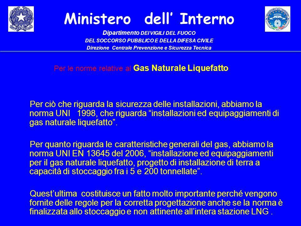 Per le norme relative al Gas Naturale Liquefatto