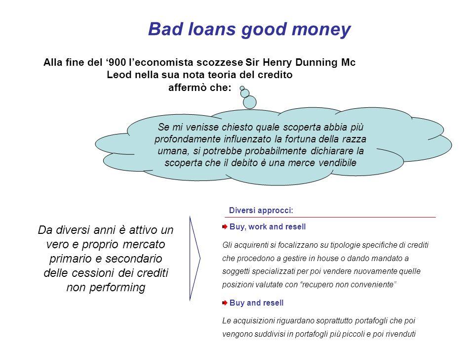 Bad loans good money Alla fine del '900 l'economista scozzese Sir Henry Dunning Mc Leod nella sua nota teoria del credito affermò che: