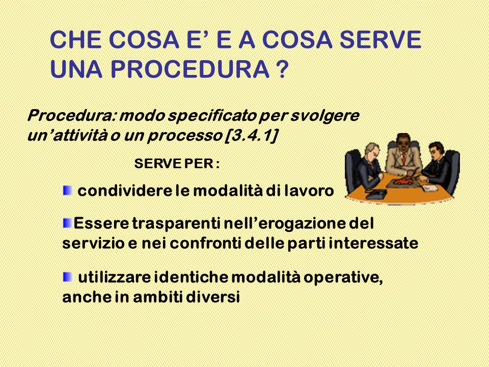 CHE COSA E' E A COSA SERVE UNA PROCEDURA