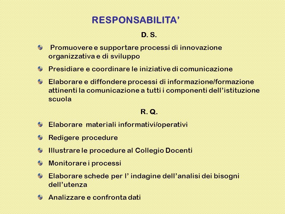 RESPONSABILITA' D. S. Promuovere e supportare processi di innovazione organizzativa e di sviluppo.