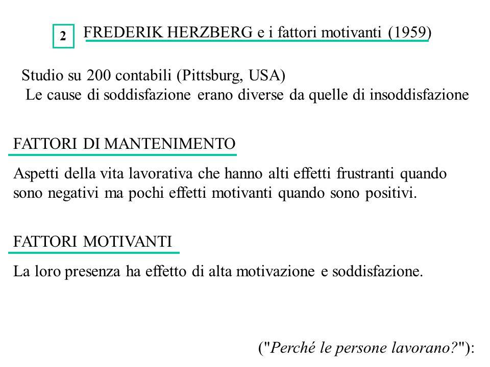 FREDERIK HERZBERG e i fattori motivanti (1959)
