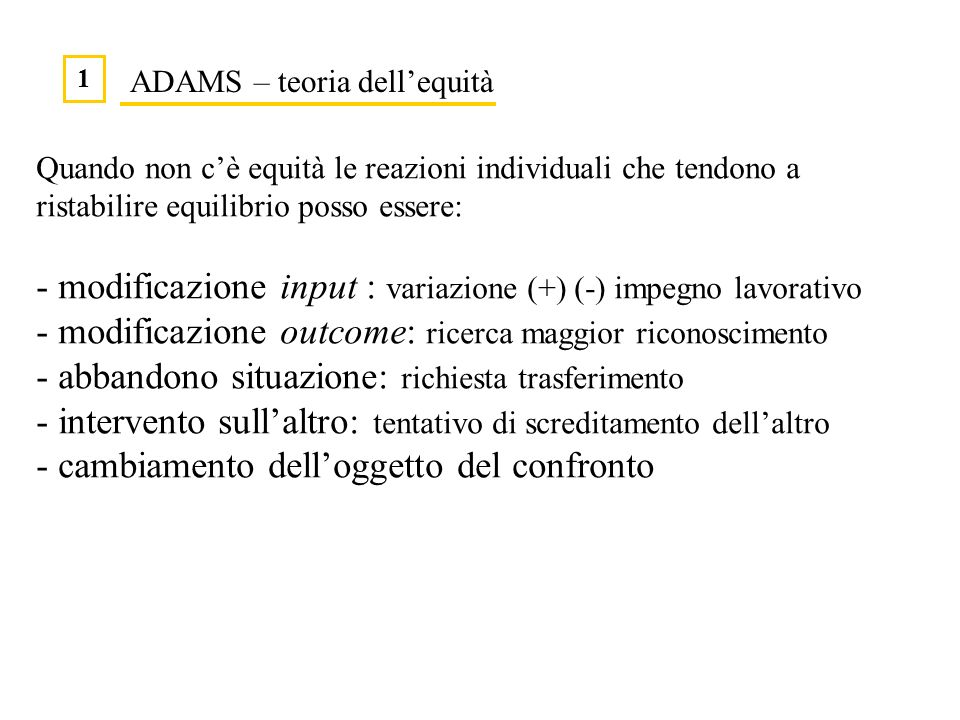 ADAMS – teoria dell'equità
