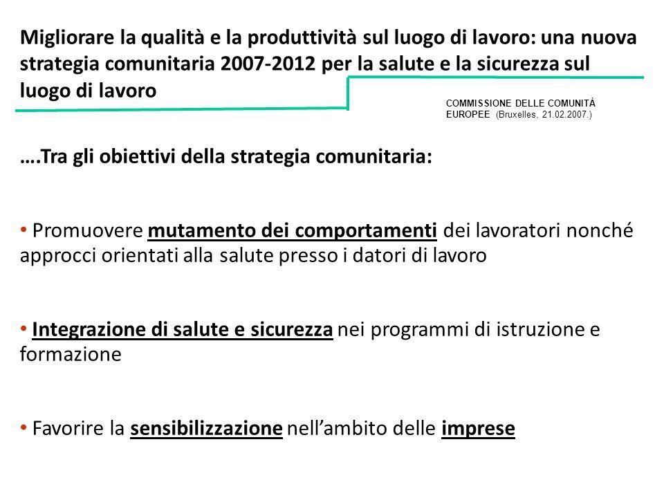 ….Tra gli obiettivi della strategia comunitaria: