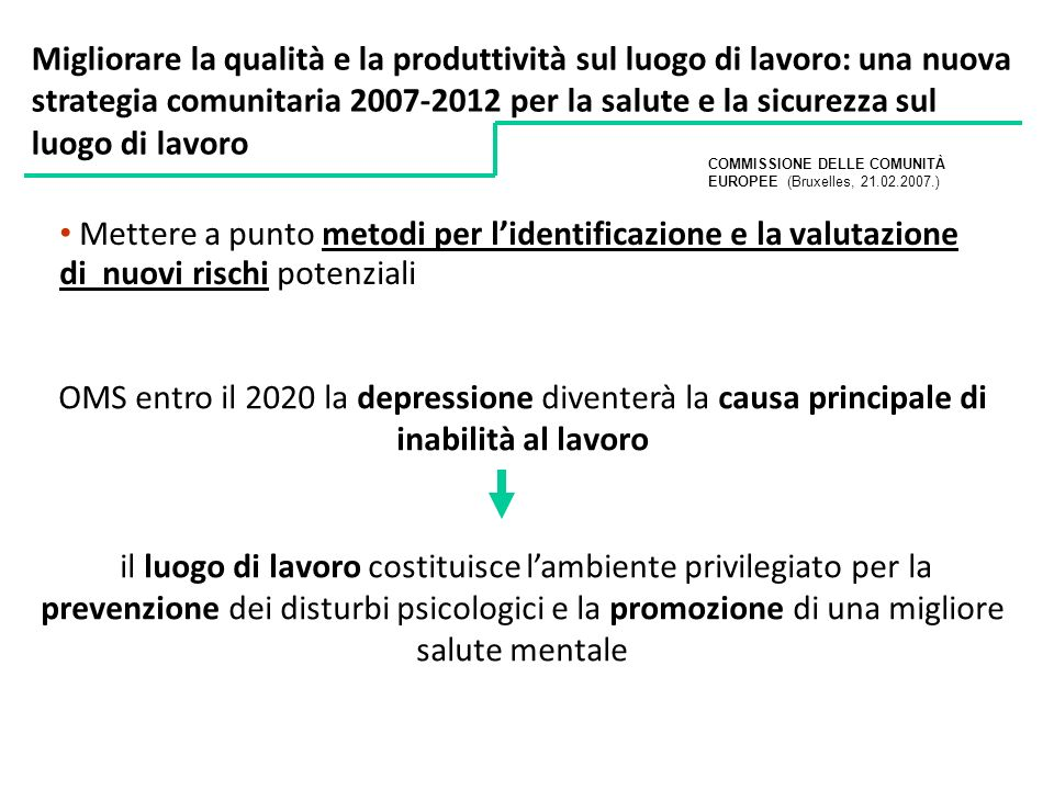 Migliorare la qualità e la produttività sul luogo di lavoro: una nuova strategia comunitaria 2007-2012 per la salute e la sicurezza sul luogo di lavoro
