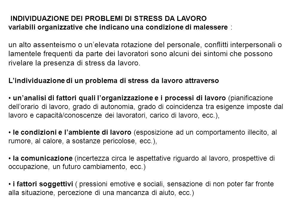 rivelare la presenza di stress da lavoro.