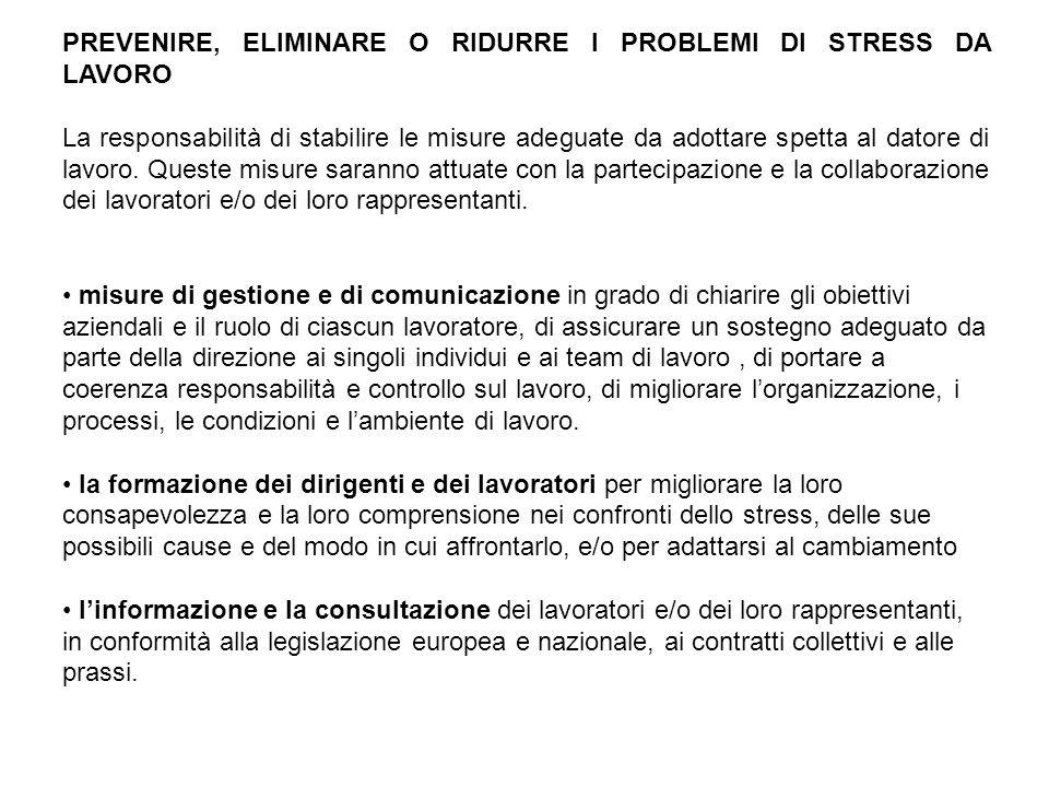 PREVENIRE, ELIMINARE O RIDURRE I PROBLEMI DI STRESS DA LAVORO