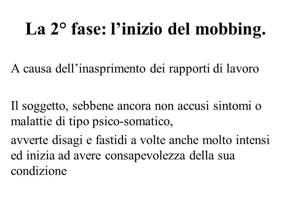 La 2° fase: l'inizio del mobbing.