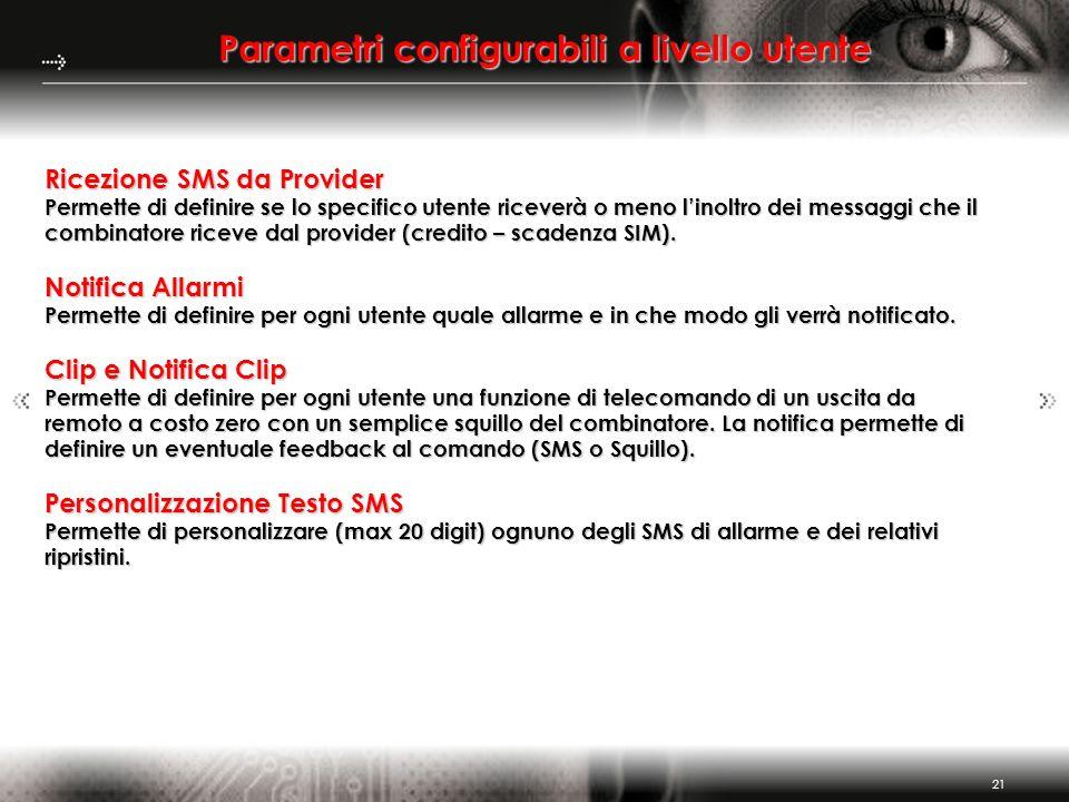 Parametri configurabili a livello utente
