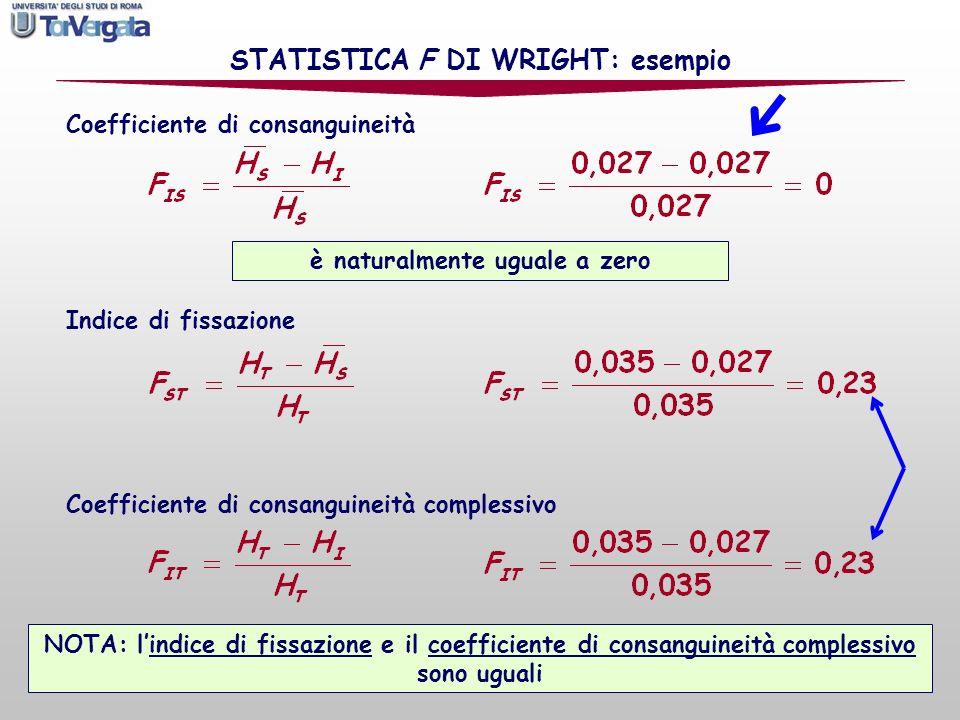 STATISTICA F DI WRIGHT: esempio è naturalmente uguale a zero