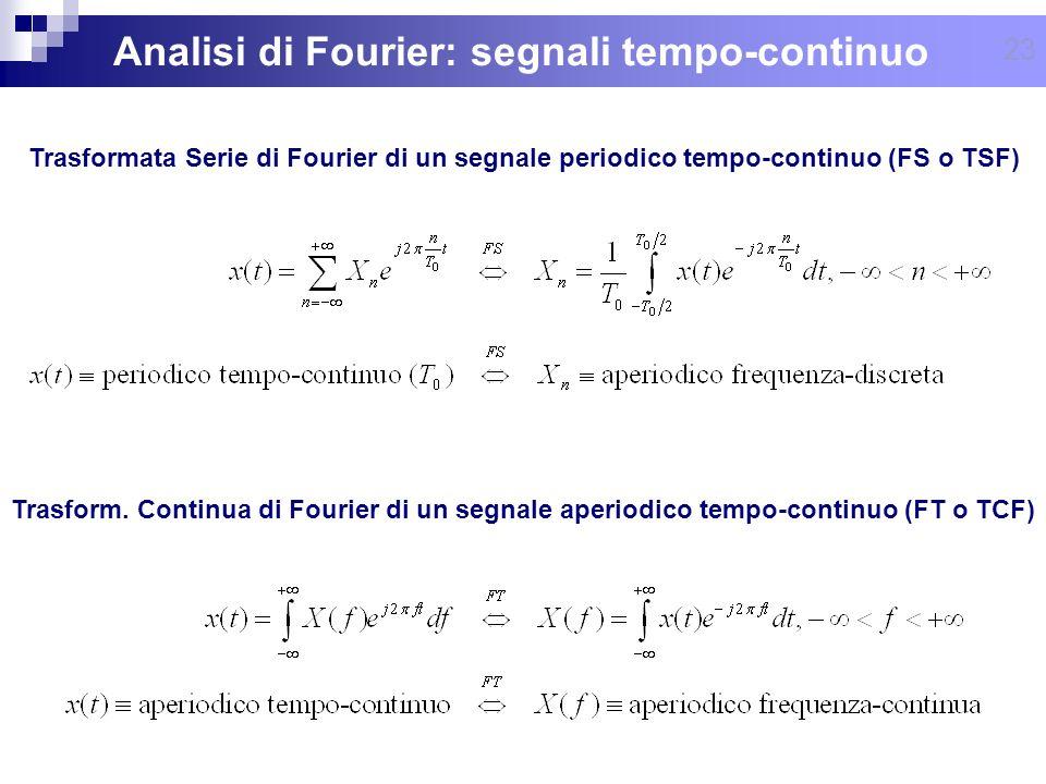 Analisi di Fourier: segnali tempo-continuo