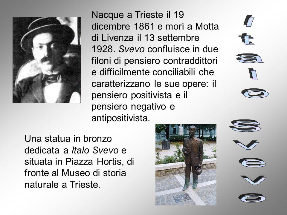 Nacque a Trieste il 19 dicembre 1861 e morì a Motta di Livenza il 13 settembre 1928. Svevo confluisce in due filoni di pensiero contraddittori e difficilmente conciliabili che caratterizzano le sue opere: il pensiero positivista e il pensiero negativo e antipositivista.