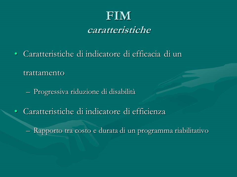 FIM caratteristicheCaratteristiche di indicatore di efficacia di un trattamento. Progressiva riduzione di disabilità.