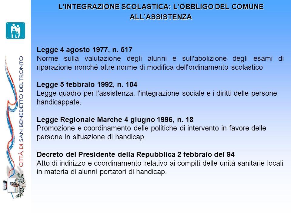 L'INTEGRAZIONE SCOLASTICA: L'OBBLIGO DEL COMUNE ALL'ASSISTENZA
