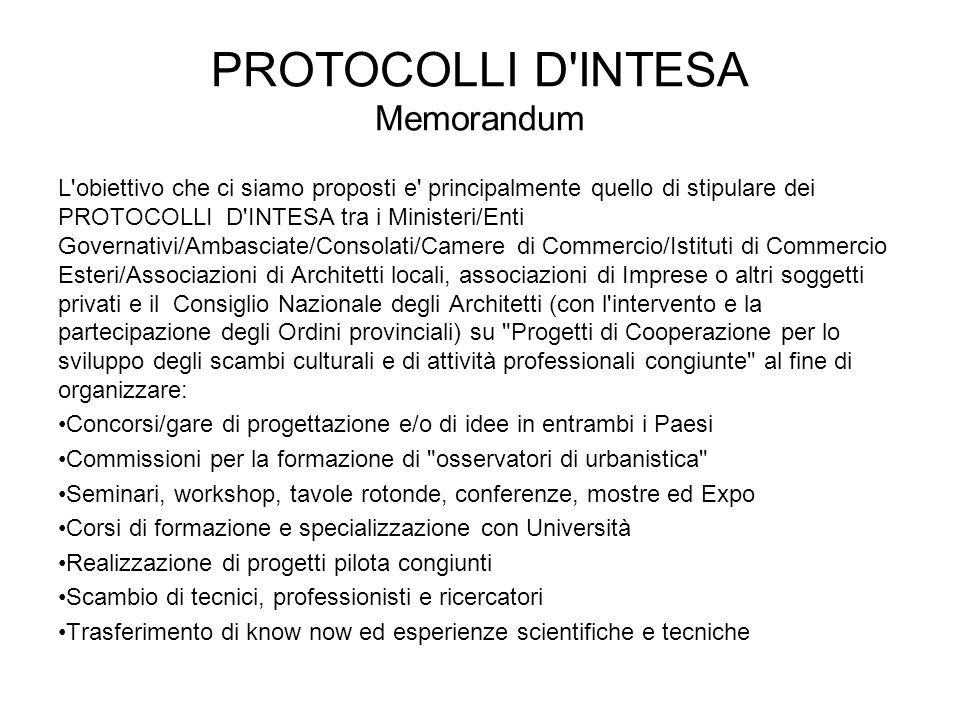 PROTOCOLLI D INTESA Memorandum