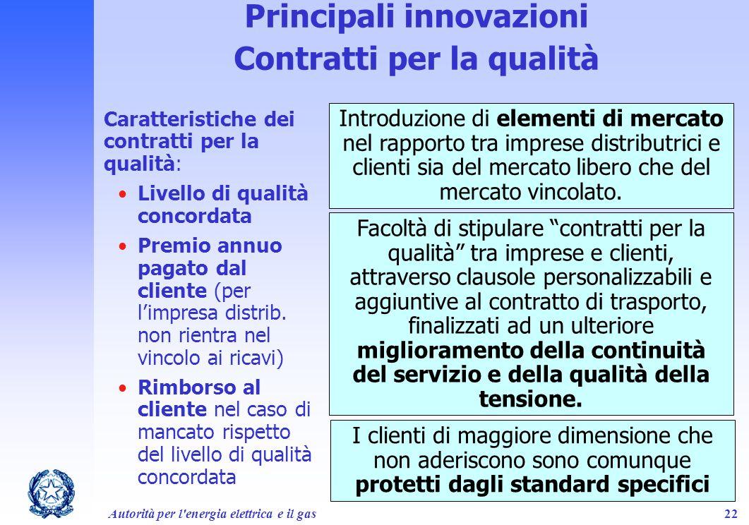 Principali innovazioni Contratti per la qualità