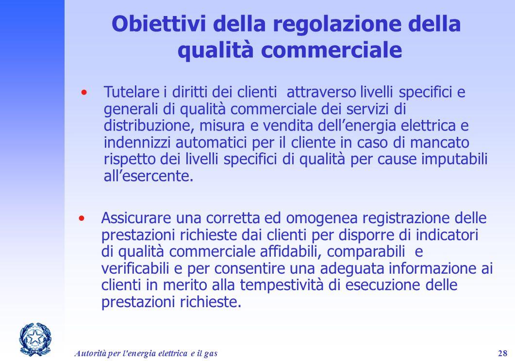 Obiettivi della regolazione della qualità commerciale