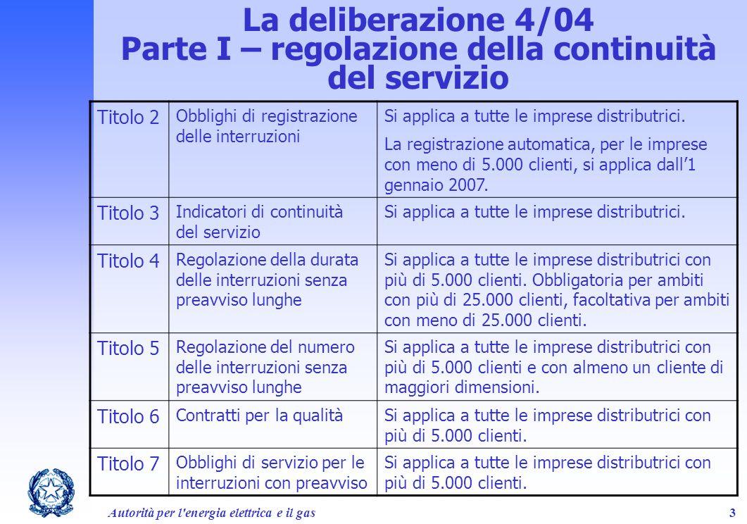 Parte I – regolazione della continuità del servizio