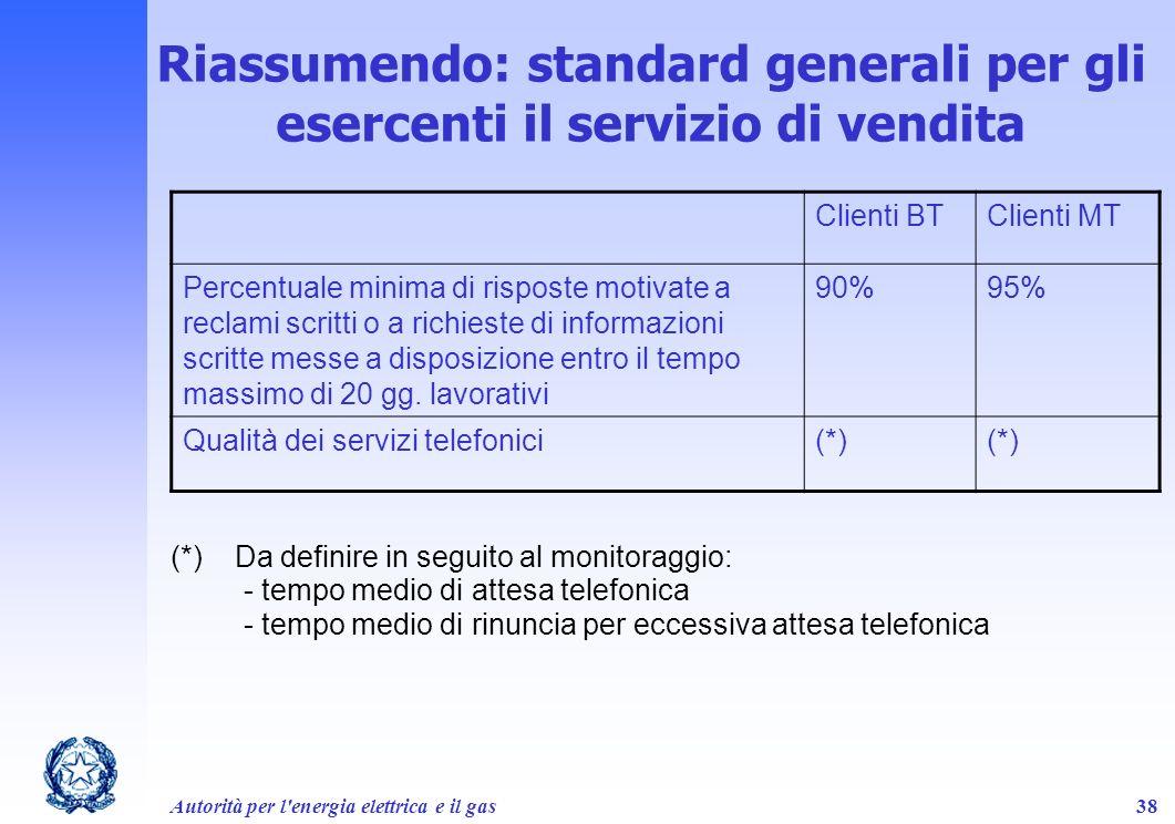 Riassumendo: standard generali per gli esercenti il servizio di vendita