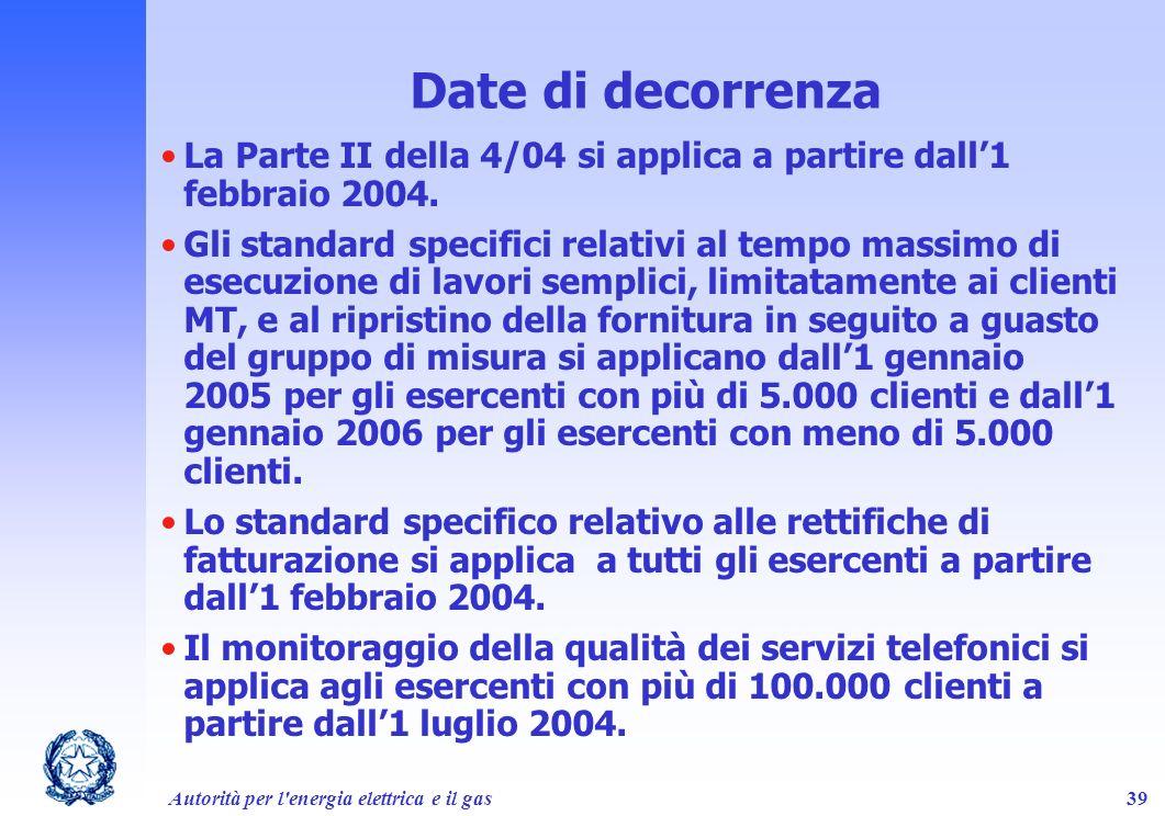 Date di decorrenza La Parte II della 4/04 si applica a partire dall'1 febbraio 2004.