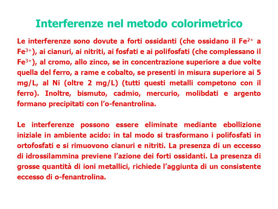 Interferenze nel metodo colorimetrico