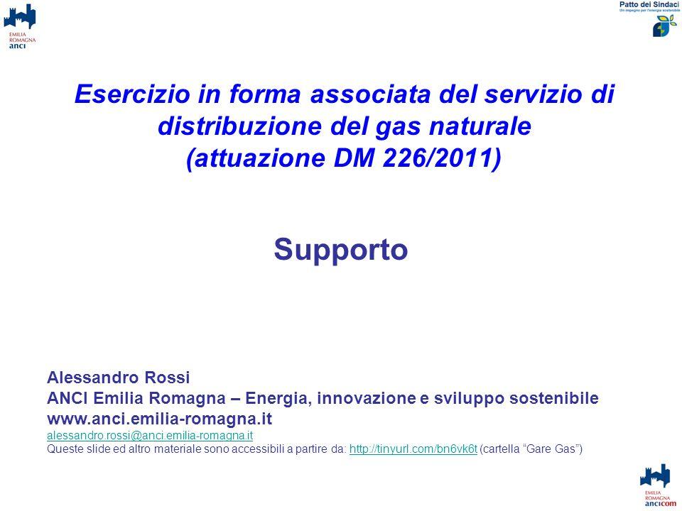 Esercizio in forma associata del servizio di distribuzione del gas naturale (attuazione DM 226/2011)