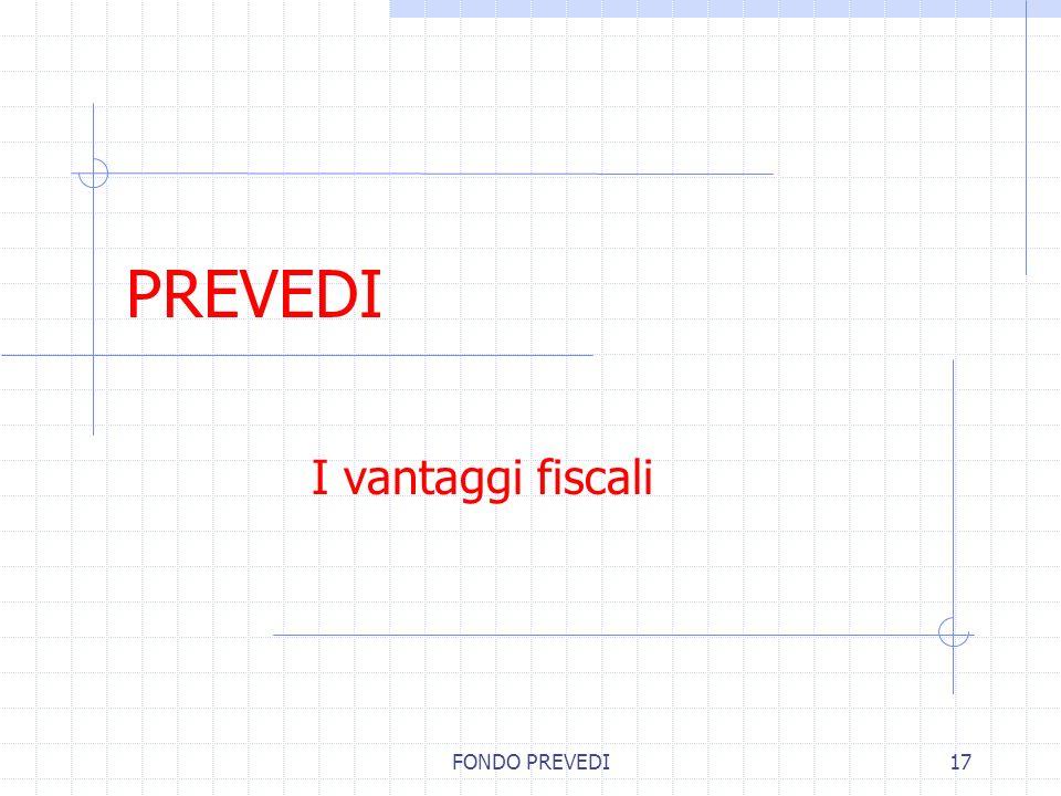 PREVEDI I vantaggi fiscali FONDO PREVEDI