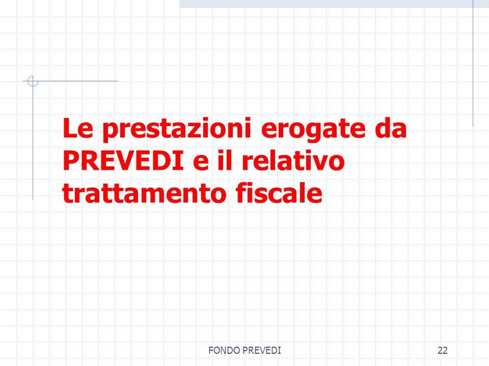 Le prestazioni erogate da PREVEDI e il relativo trattamento fiscale
