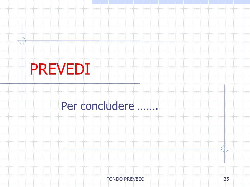 PREVEDI Per concludere ……. FONDO PREVEDI