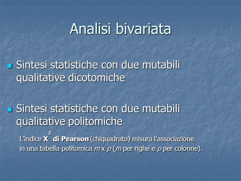Analisi bivariata Sintesi statistiche con due mutabili qualitative dicotomiche. Sintesi statistiche con due mutabili qualitative politomiche.