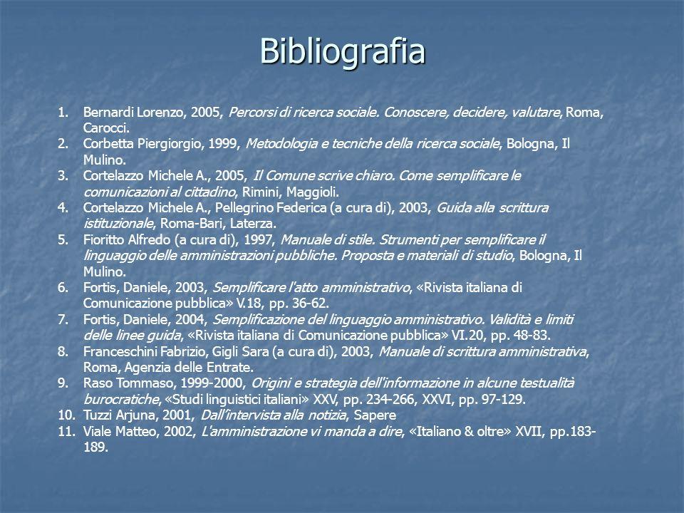 Bibliografia Bernardi Lorenzo, 2005, Percorsi di ricerca sociale. Conoscere, decidere, valutare, Roma, Carocci.