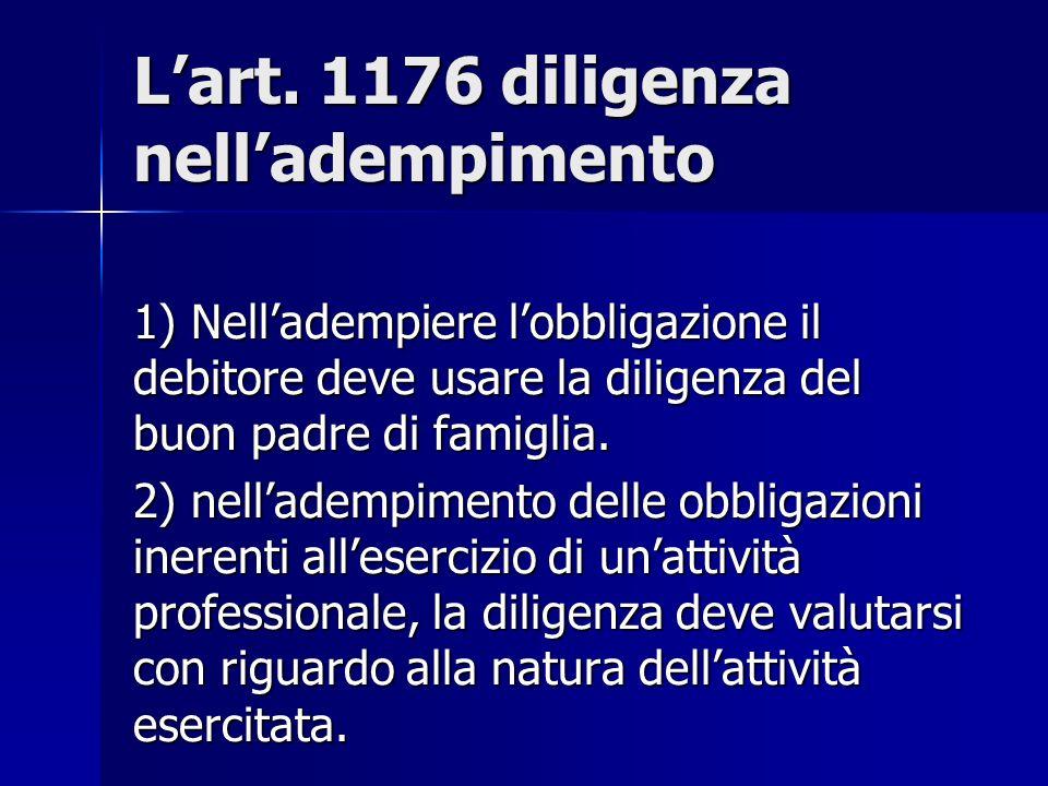 L'art. 1176 diligenza nell'adempimento