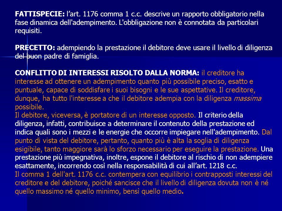 FATTISPECIE: l'art. 1176 comma 1 c. c