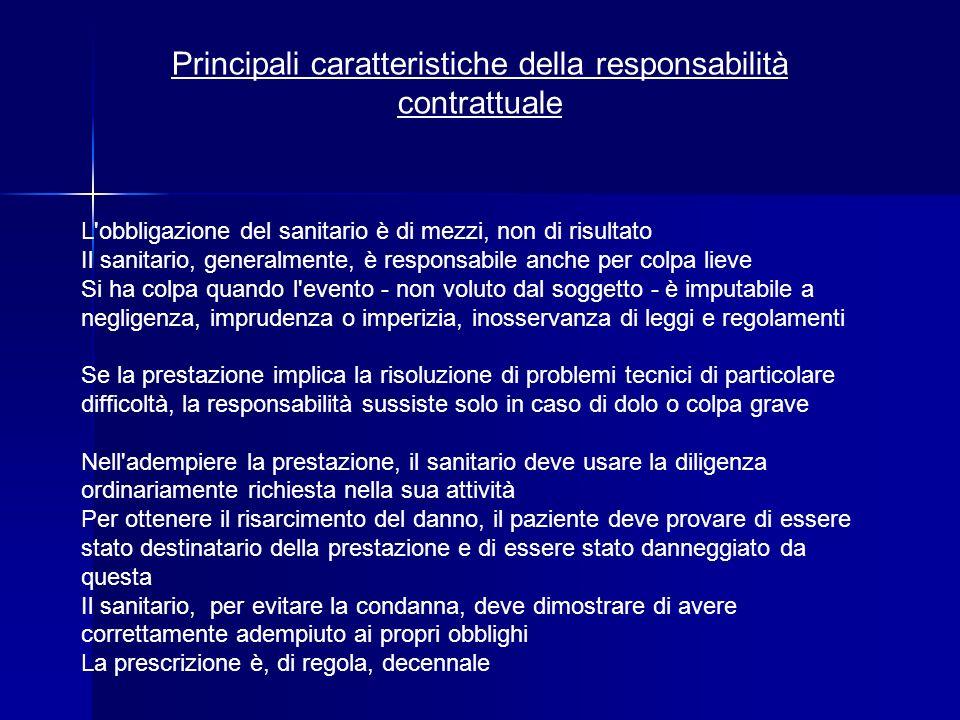 Principali caratteristiche della responsabilità contrattuale