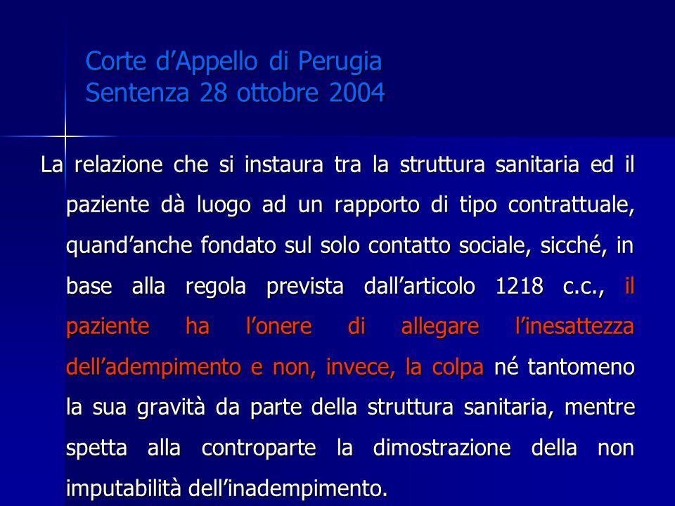 Corte d'Appello di Perugia Sentenza 28 ottobre 2004