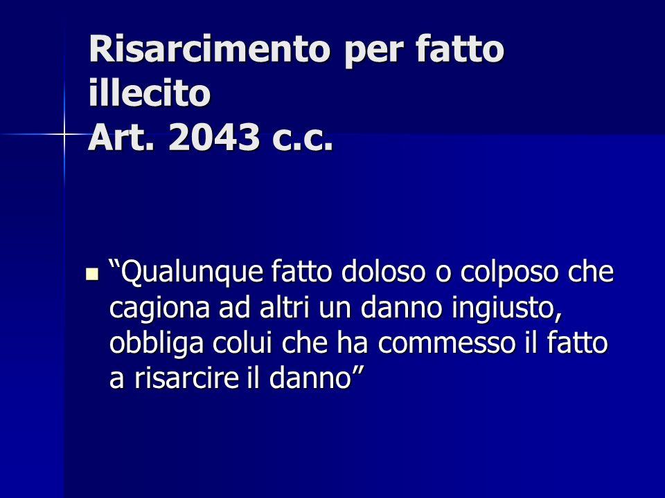 Risarcimento per fatto illecito Art. 2043 c.c.