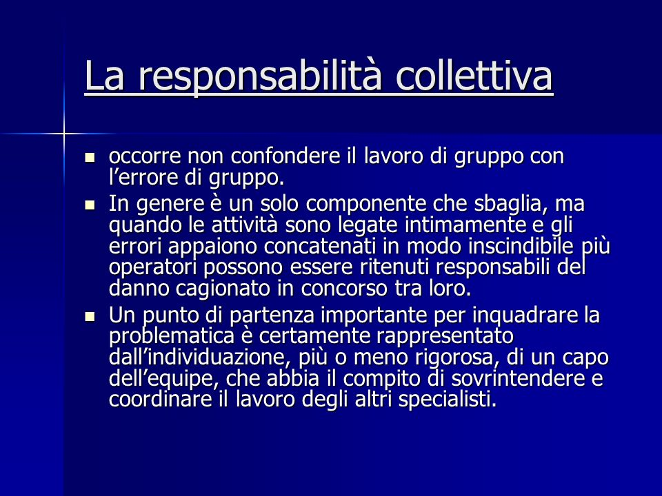 La responsabilità collettiva