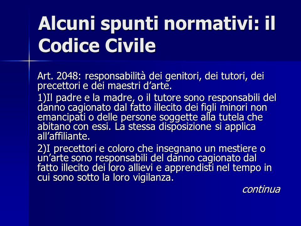 Alcuni spunti normativi: il Codice Civile
