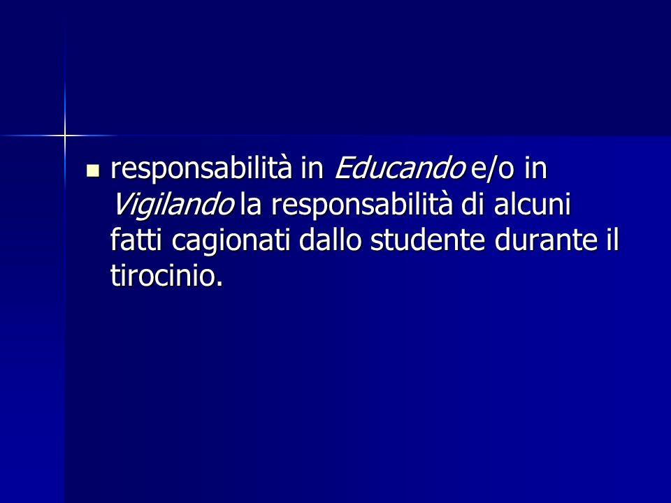 responsabilità in Educando e/o in Vigilando la responsabilità di alcuni fatti cagionati dallo studente durante il tirocinio.