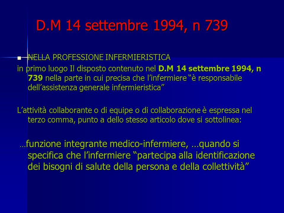 D.M 14 settembre 1994, n 739 NELLA PROFESSIONE INFERMIERISTICA