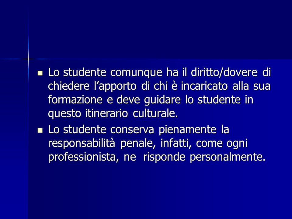 Lo studente comunque ha il diritto/dovere di chiedere l'apporto di chi è incaricato alla sua formazione e deve guidare lo studente in questo itinerario culturale.