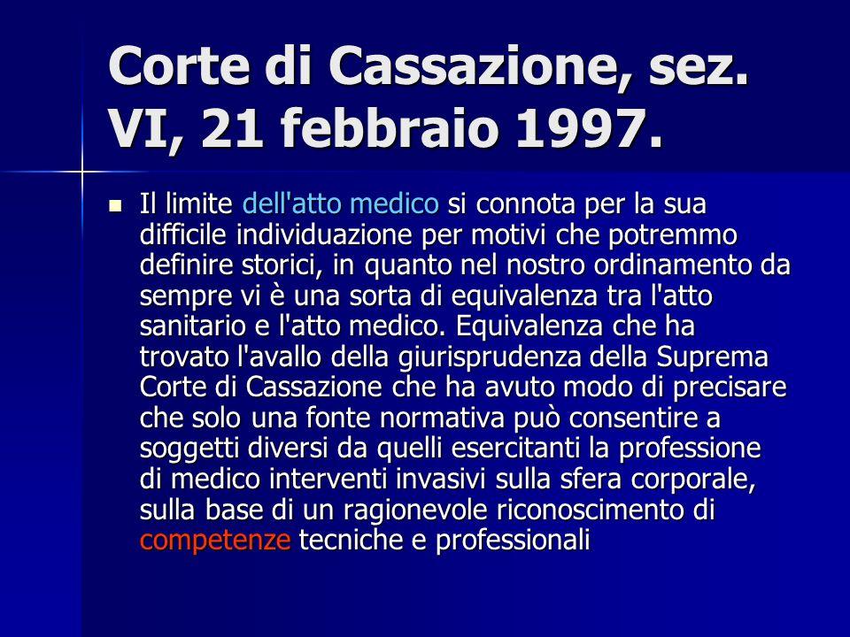 Corte di Cassazione, sez. VI, 21 febbraio 1997.