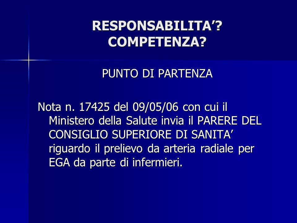 RESPONSABILITA' COMPETENZA