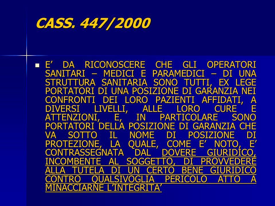 CASS. 447/2000
