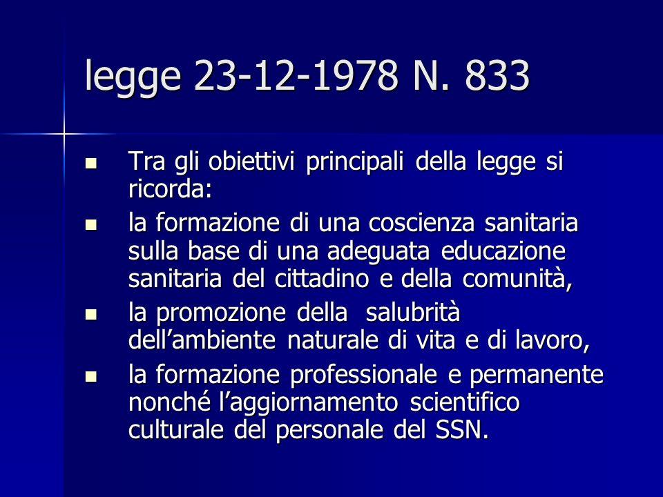 legge 23-12-1978 N. 833Tra gli obiettivi principali della legge si ricorda:
