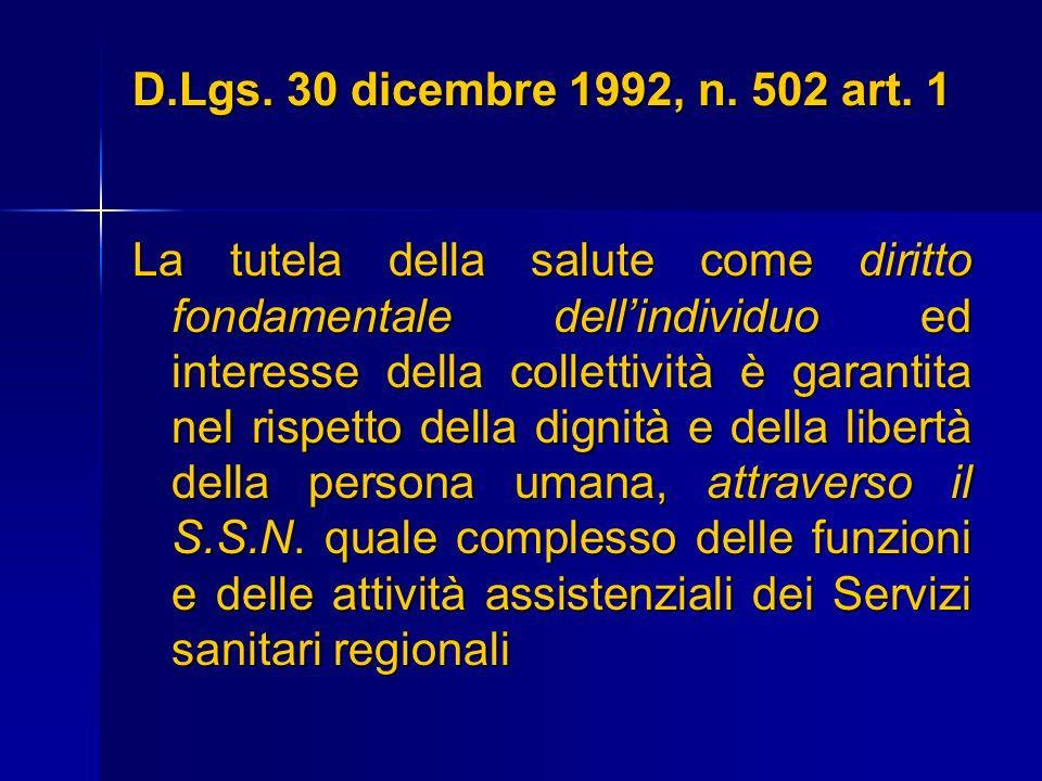D.Lgs. 30 dicembre 1992, n. 502 art. 1