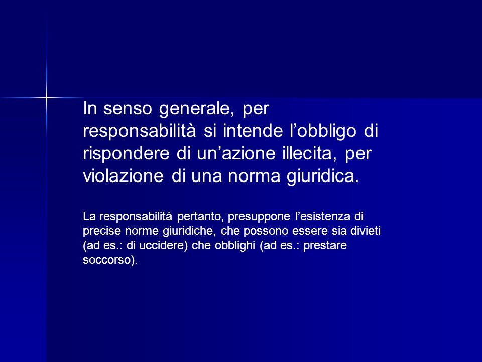 In senso generale, per responsabilità si intende l'obbligo di rispondere di un'azione illecita, per violazione di una norma giuridica.