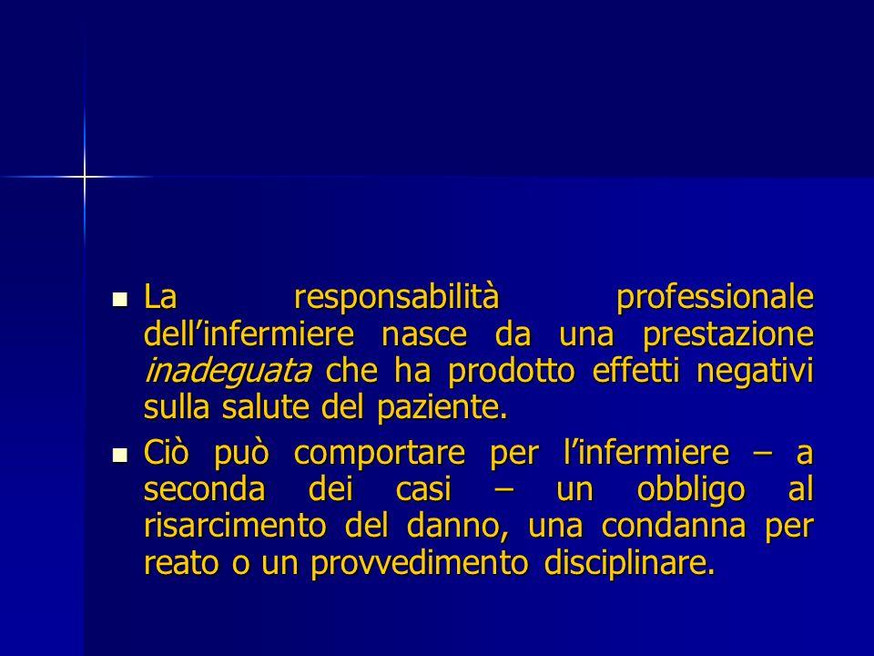 La responsabilità professionale dell'infermiere nasce da una prestazione inadeguata che ha prodotto effetti negativi sulla salute del paziente.