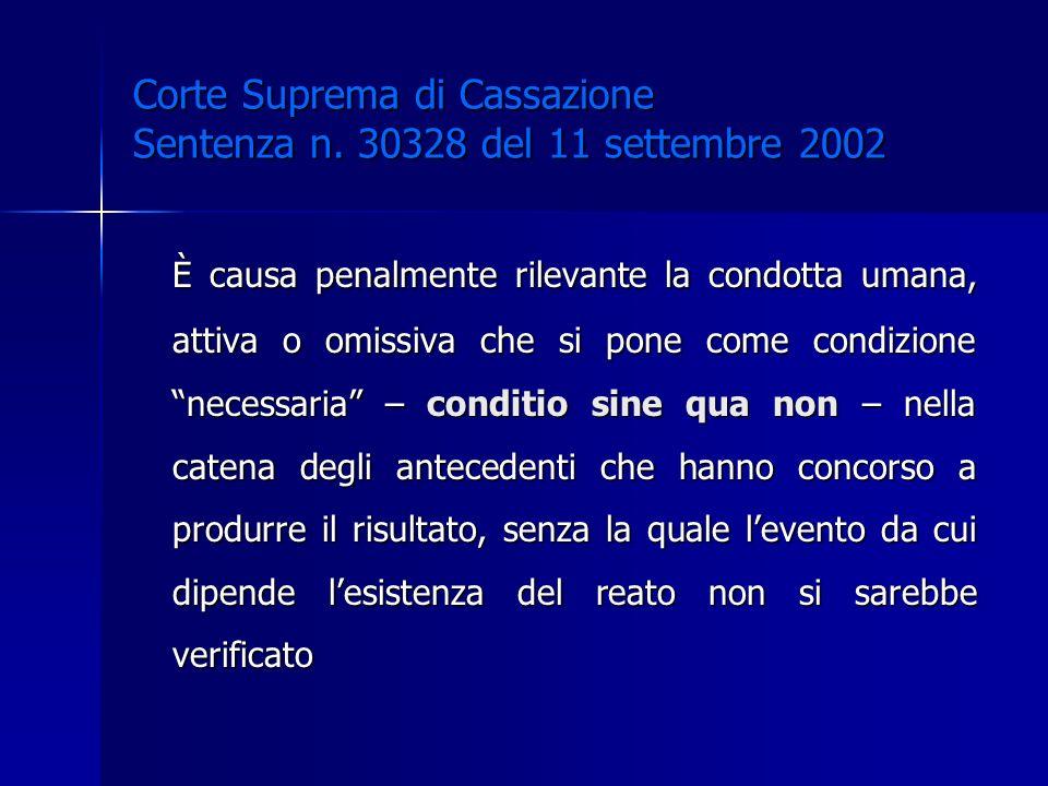 Corte Suprema di Cassazione Sentenza n. 30328 del 11 settembre 2002